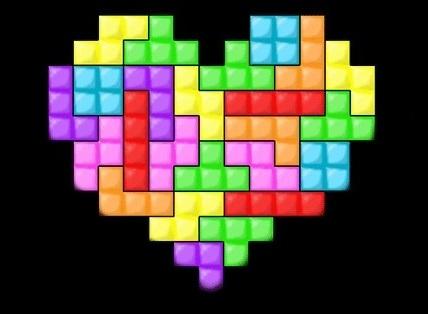 Carte d'amour avec coeur tétris - carte virtuelle gratuite