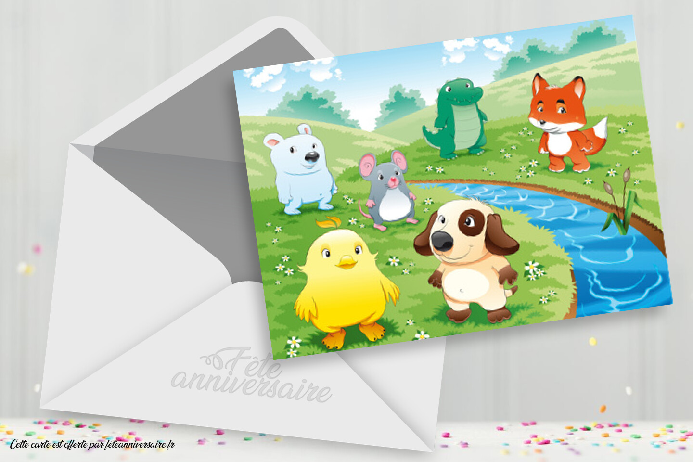 Carte Anniversaire Enfant Animaux Carte Gratuite Pour Enfant