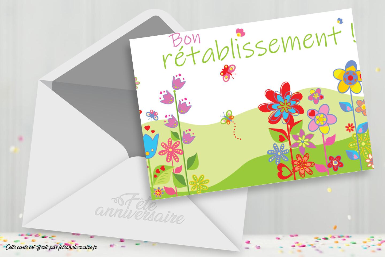 """Jolie carte colorée """"Bon rétablissement"""""""