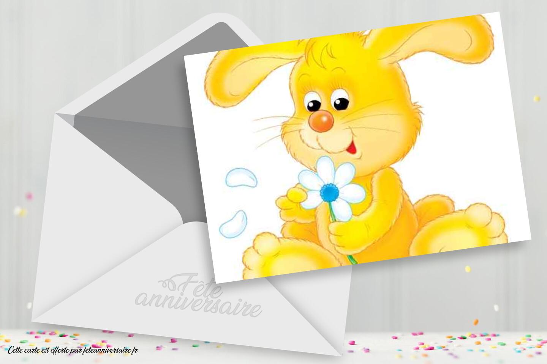 Carte Anniversaire Enfant Avec Petit Lapin Carte Gratuite
