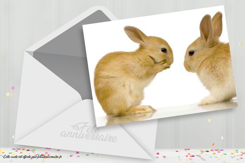 Carte anniversaire gratuite lapin