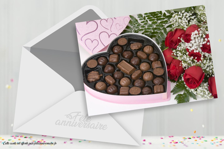 Carte Bonne fête - Carte avec chocolats à envoyer gratuitement