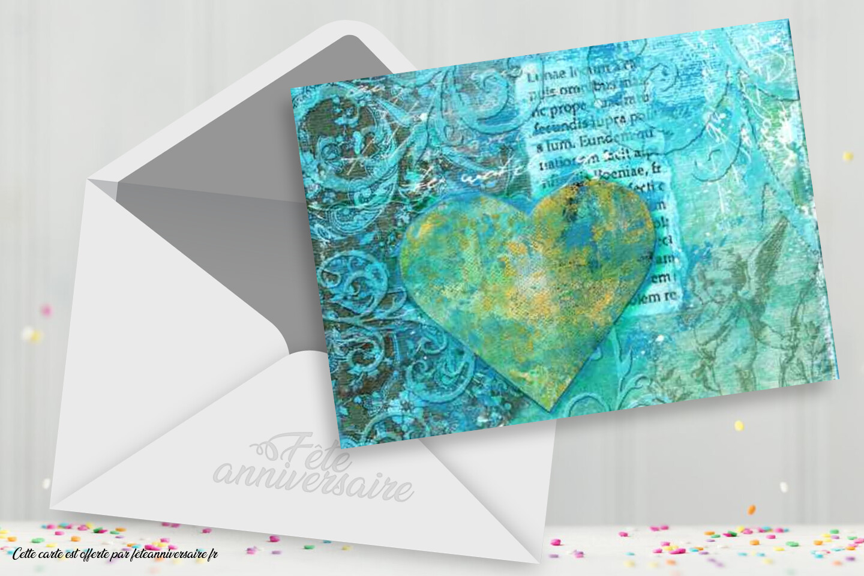 Carte d'amour coeur bleu : Envoyer gratuitement cerre carte coeur