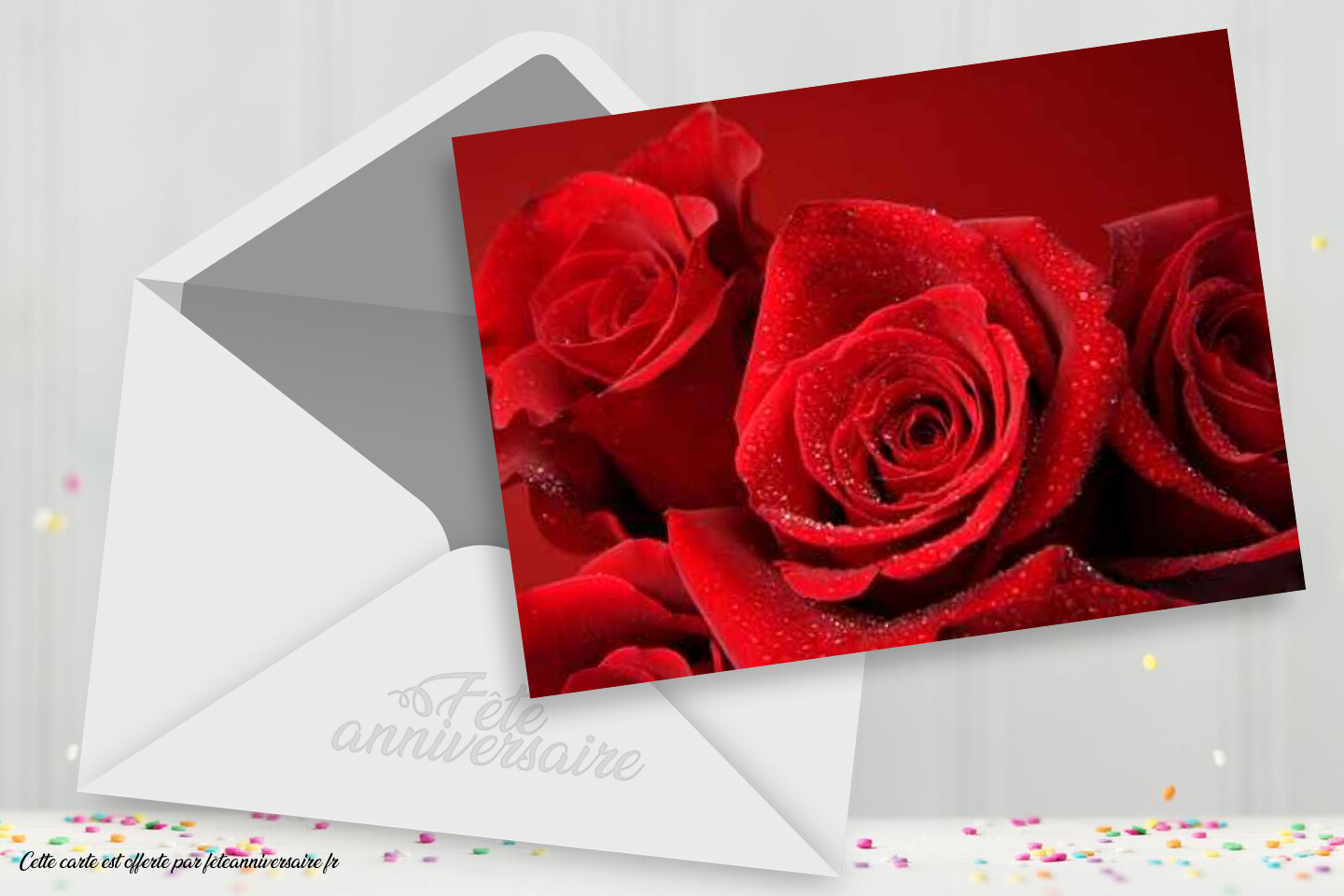 Carte d'amour rose rouge