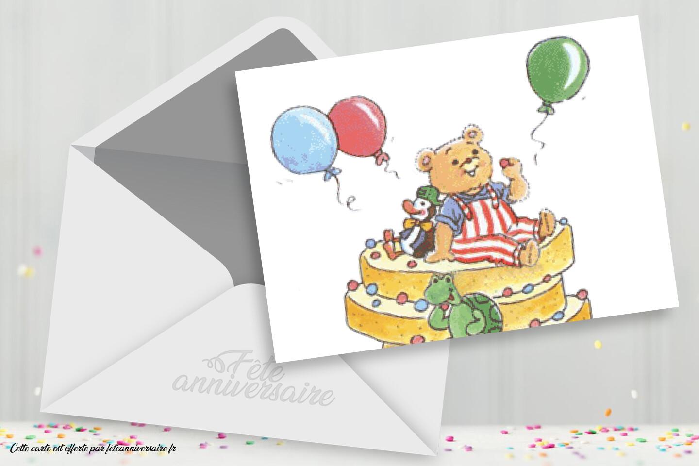 Carte d'anniversaire enfant nounours - Carte gratuite pour enfant