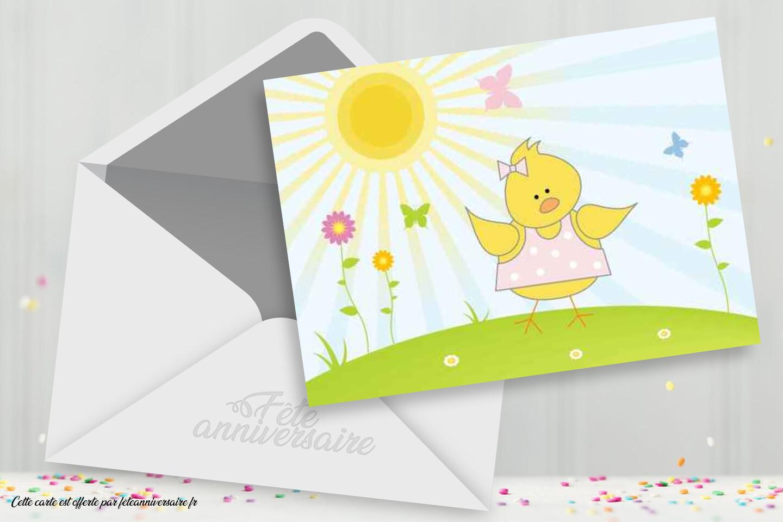 Carte d'anniversaire enfant petit poussin - Carte anniversaire animaux