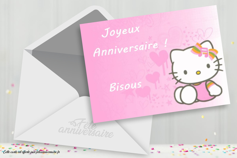 Carte d'anniversaire Hello Kitty - Carte chat gratuite