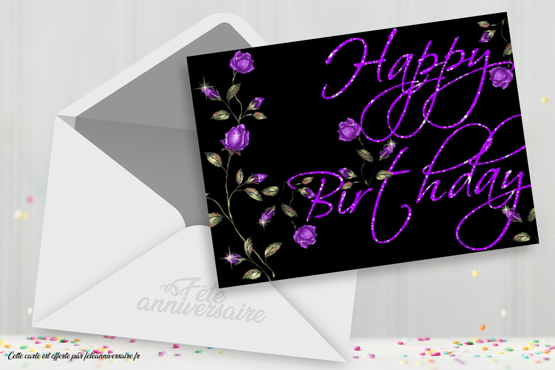 """Carte d'anniversaire scintillante """"Joyeux Anniversaire"""""""
