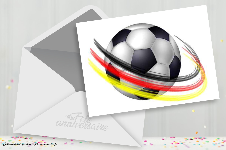 Carte football, carton d'invitation football et carte d'anniversaire football