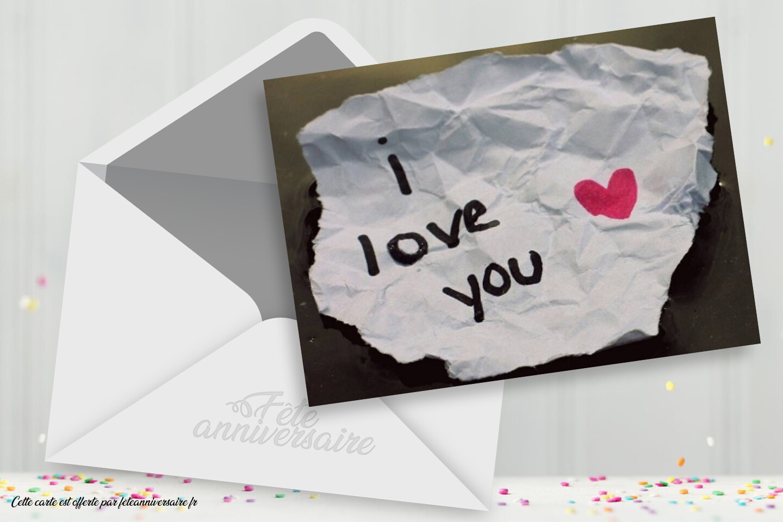 Carte : I love you - carte virtuelle gratuite