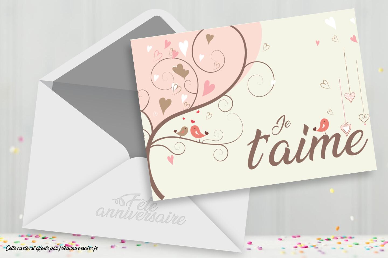 """Carte gratuite """"Je t'aime"""" - Thème amour et Saint Valentin"""