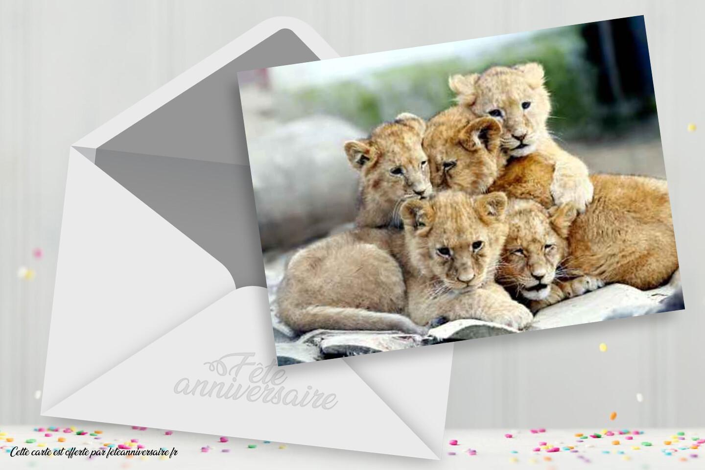Carte joyeux anniversaire lionceaux