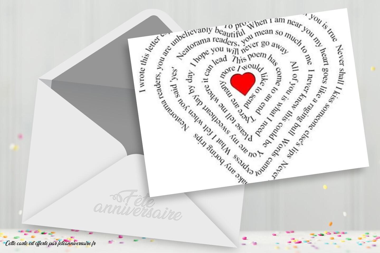 Carte poème pour la saint valentin