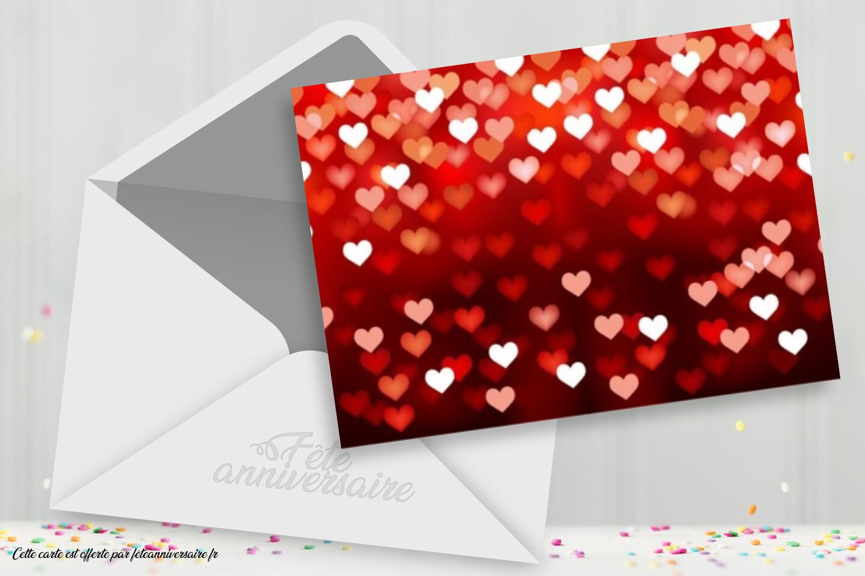 Carte virtuelle à coeurs pour la saint Valentin