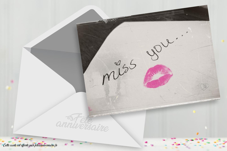 Carte virtuelle d'amour : Tu me manques !