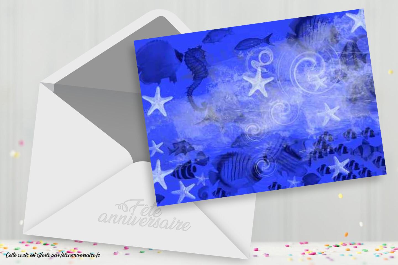 Carton d'invitation anniversaire bleu