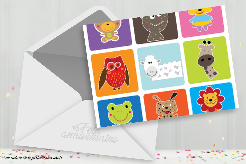 Surréaliste Carton d'invitation coloré pour enfant - Anniversaire enfant AZ-91