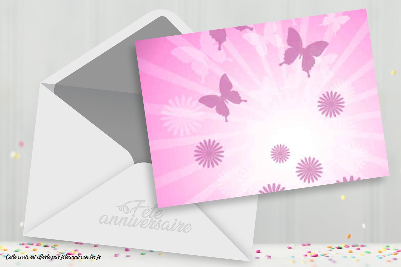 Carton d'invitation rose - Belle carte d'anniversaire rose