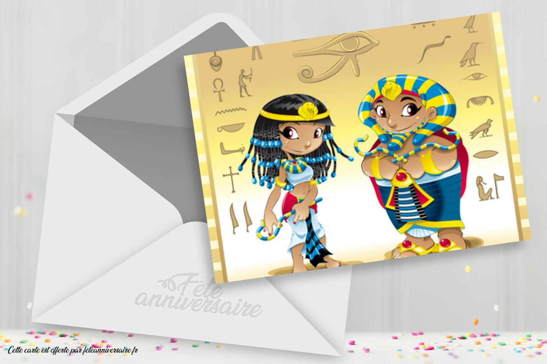 Egypte - Carte virtuelle égyptienne, invitation enfant