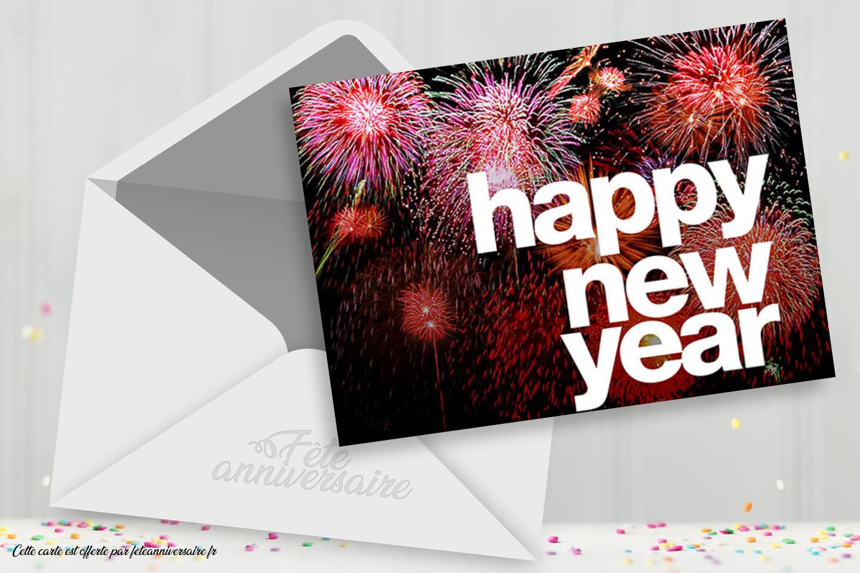 Happy New Year ! Carte de voeux virtuelle pour la fin d'année