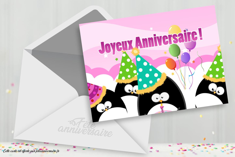 Joyeux anniversaire pour fille avec pinguins