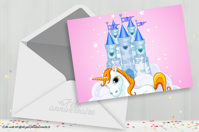 Princesse Chateau Et Licorne Carte D Anniversaire Pour Fille
