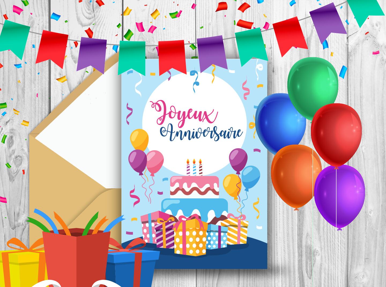 Carte d'anniversaire pour enfant avec ballons et cadeaux
