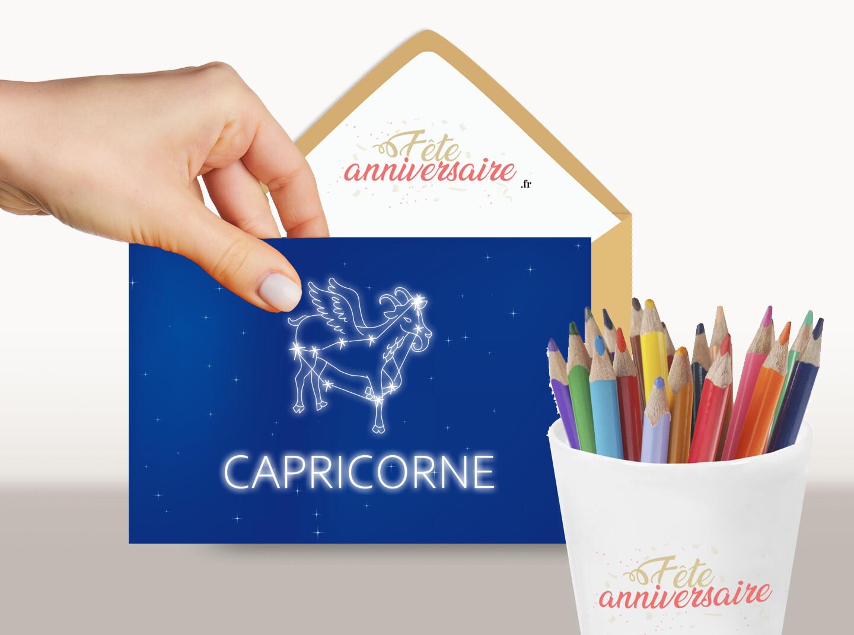 Carte du signe du zodiaque gratuite Capricorne du 22 décembre au 20 janvier