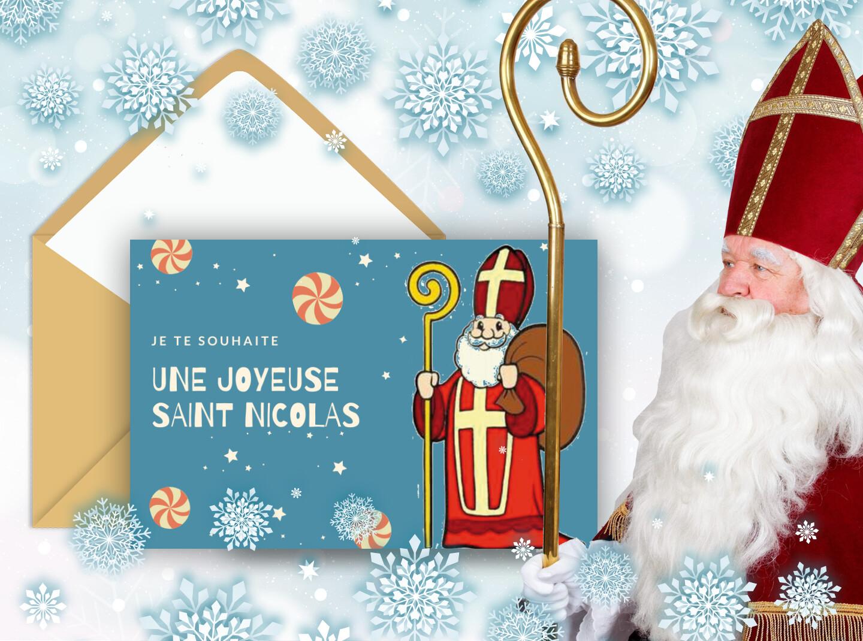 La fête de la saint Nicolas - Carte à envoyer pour souhaiter la saint Nicolas