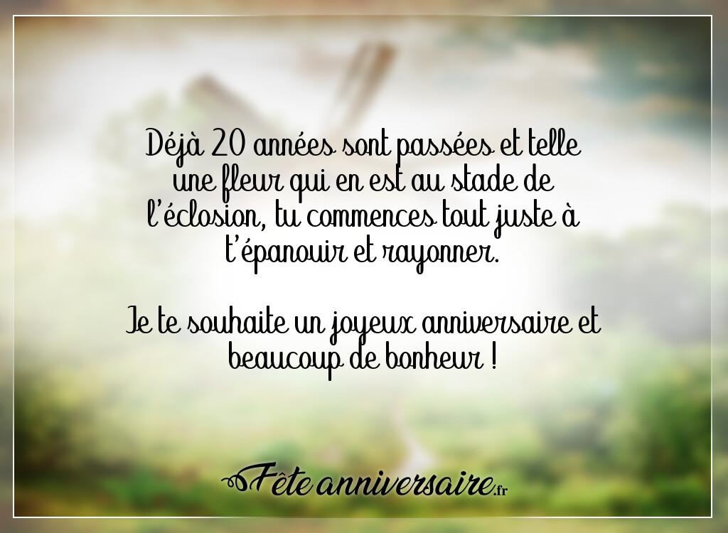 Texte Anniversaire 20 Ans La Fleur S Epanouie