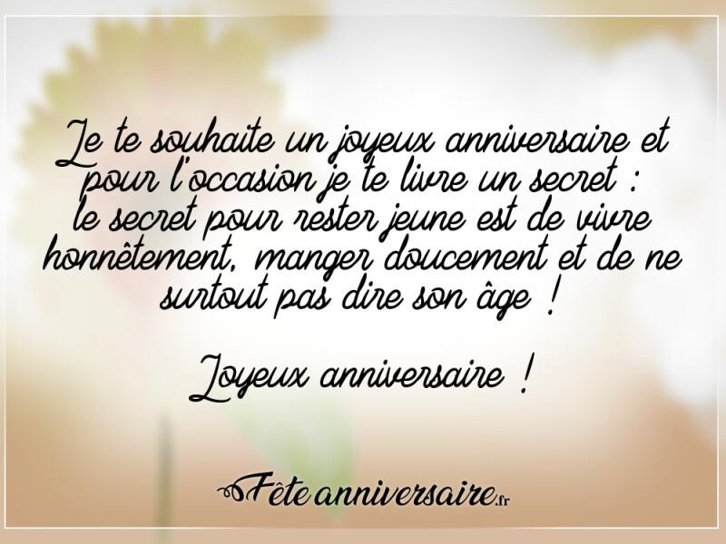 Texte D Anniversaire 50 Ans Le Secret Pour Rester Jeune