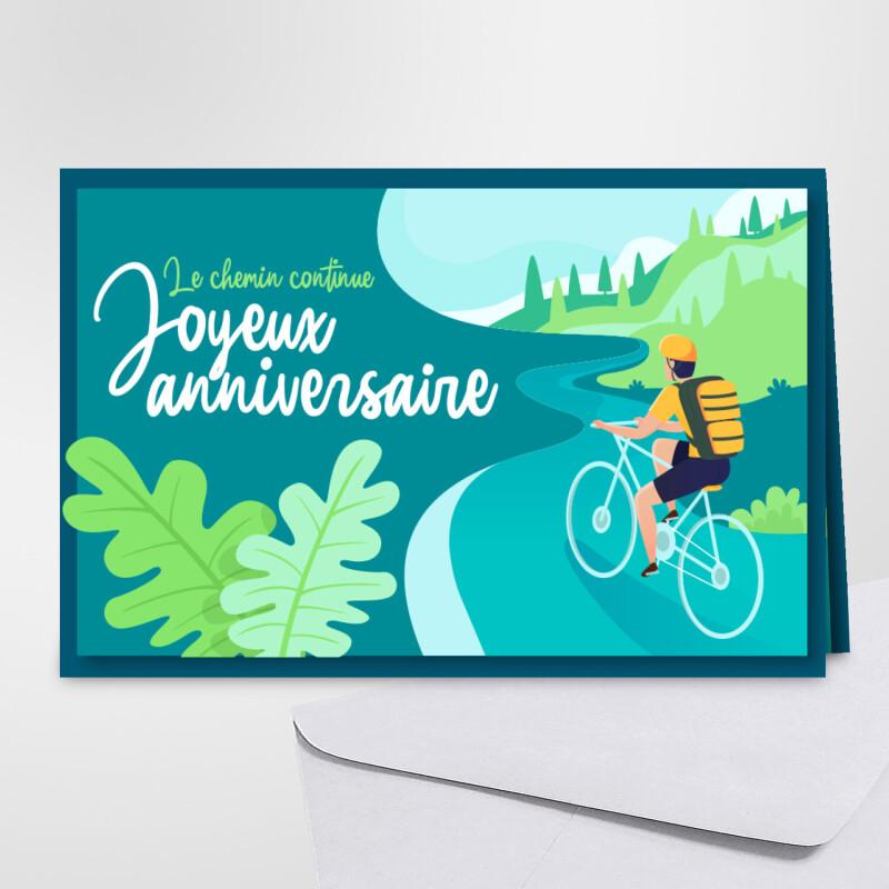 Carte D Anniversaire Cyclisme Le Chemin Continue Joyeux Anniversaire